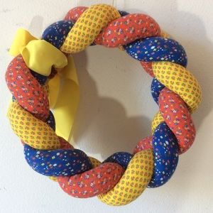 Vintage Artsy Bohemian Cloth pretzel Wreath